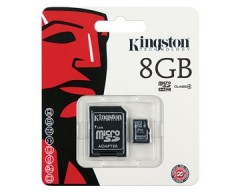 Kingston 8GB microSDHC Flash Card w/ SD Adapter Model SDC4/8GB