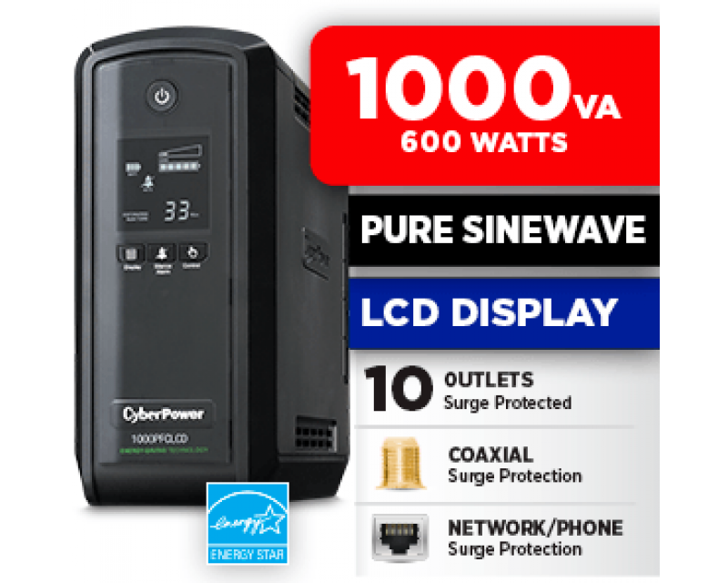 CyberPower CP1000PFCLCD UPS 1000VA / 600W PFC compatible Pure sine wave