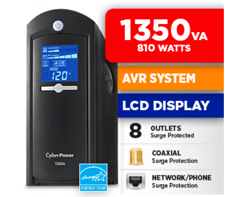 CyberPower Intelligent LCD Series GreenPower UPS CP1350AVRLCD 1350 VA 810 Watts 4 x 5-15R Battery/Surge Protected 4 x 5-15R Surge Protected Outlets UPS