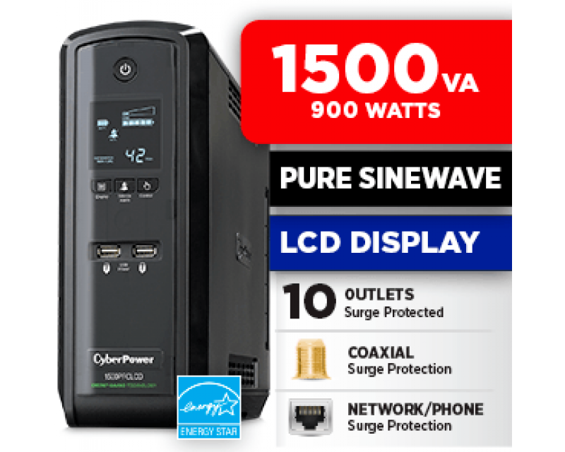 CyberPower CP1500PFCLCD 1500 VA 900 w 10 Outlets UPS