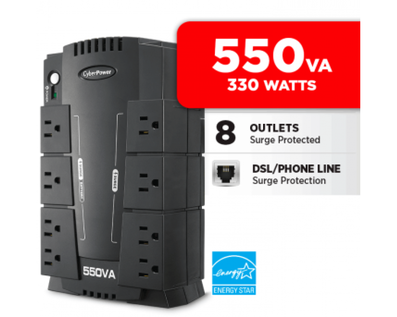 CyberPower Standby Series CP550SLG 550 VA 330 Watts 8 Outlets UPS