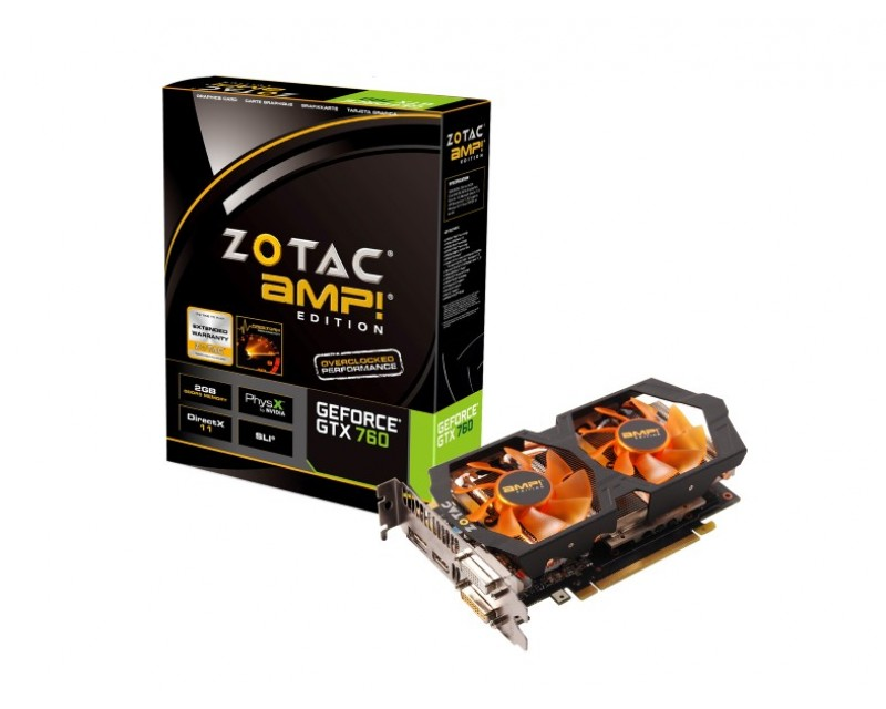 ZOTAC AMP! SUPERCLOCKED ZT-70402-10P G-SYNC Support GeForce GTX 760 2GB 256-Bit GDDR5 PCI Express 3.0 HDCP Ready SLI Support Video Card